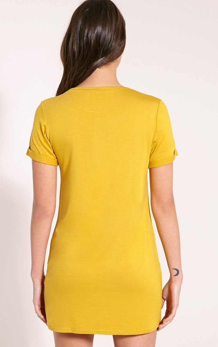 Basic Mustard Boyfriend Jersey T Shirt Dress 2