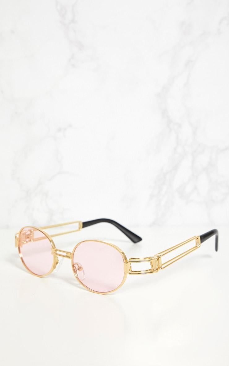 Pink Oval Metal Frame Retro Sunglasses 3