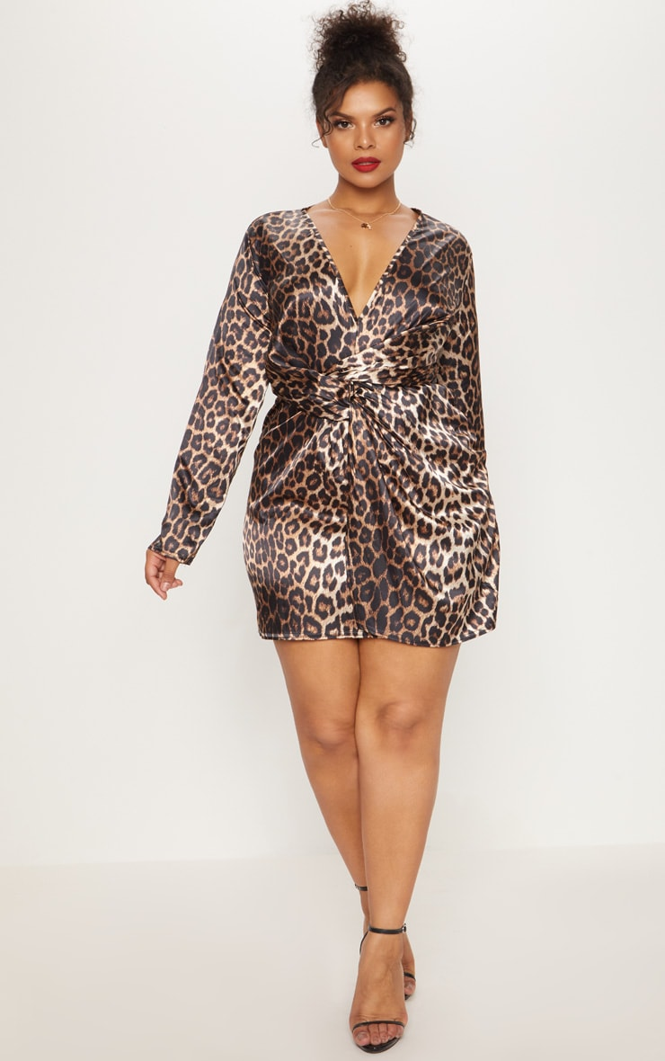 Plus Leopard Print Satin Twist Front Shift Dress 4