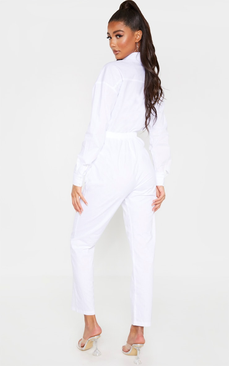 White Tie Waist Shirt Jumpsuit 2