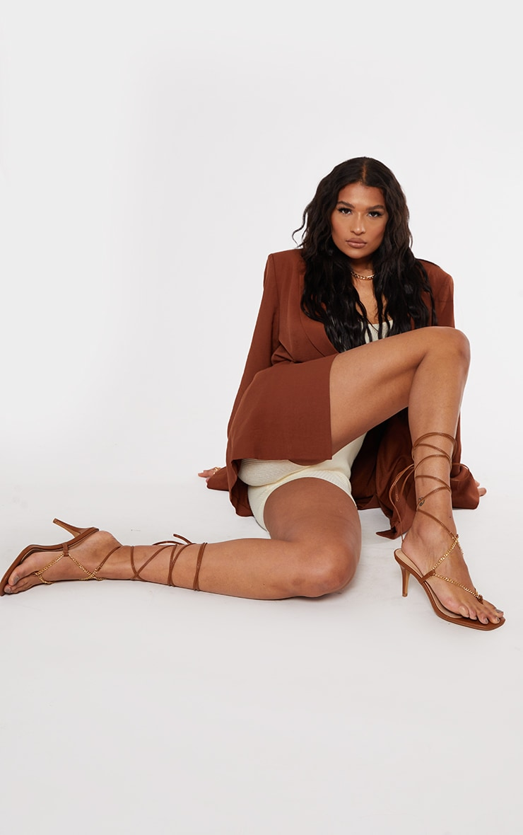 Chocolate Chain Toe Thong Lace Up Heeled Sandals 1