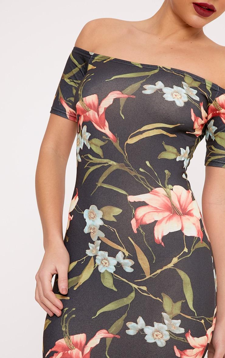 Jenah  Multi Floral  Bardot  Cap Sleeve Bodycon Dress 5