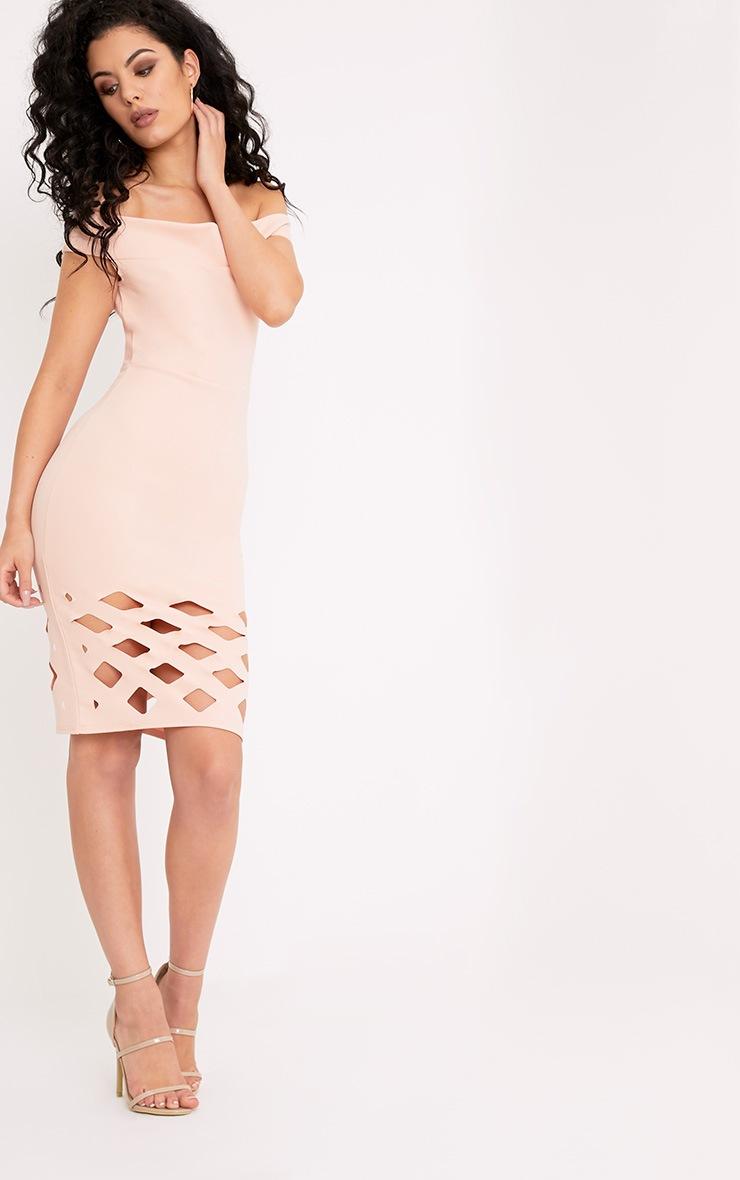 Cinny Nude Laser Cut Bardot Midi Dress 4