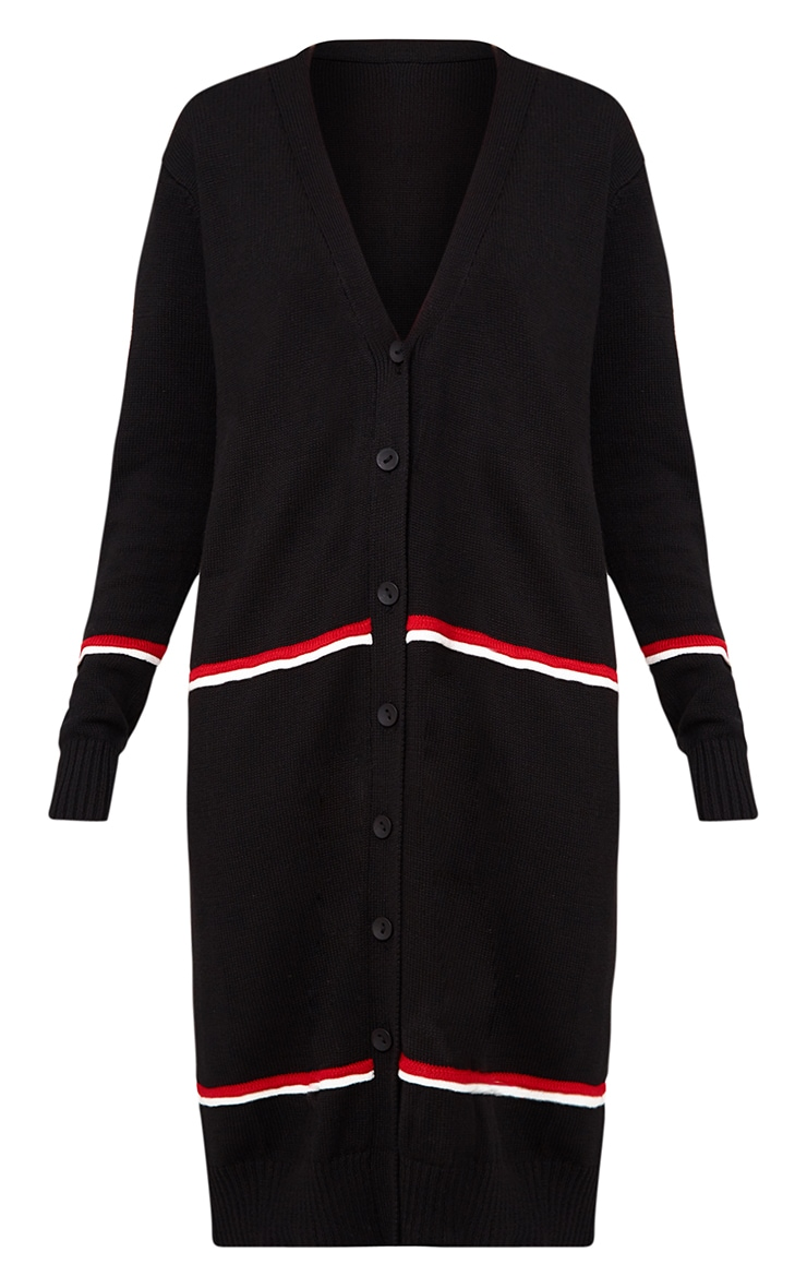 Black Stripe Long Line Button Cardigan 3