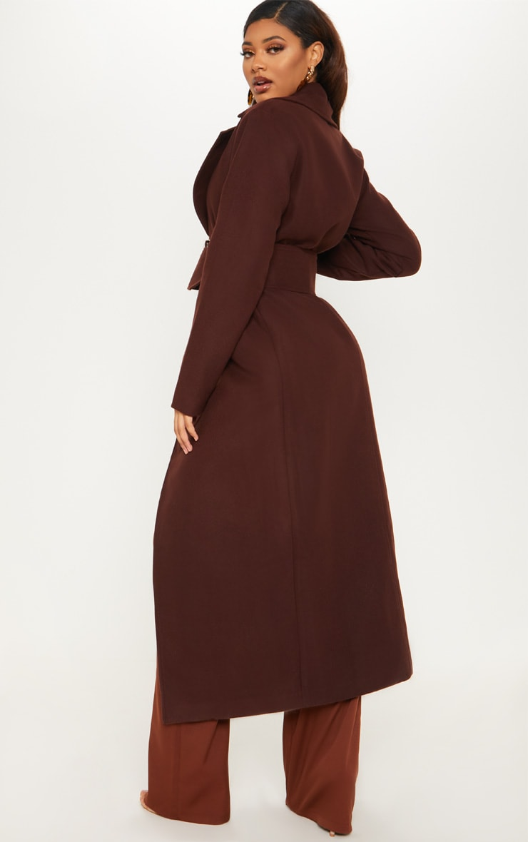 Tall Chocolate Brown Belted Coat  2
