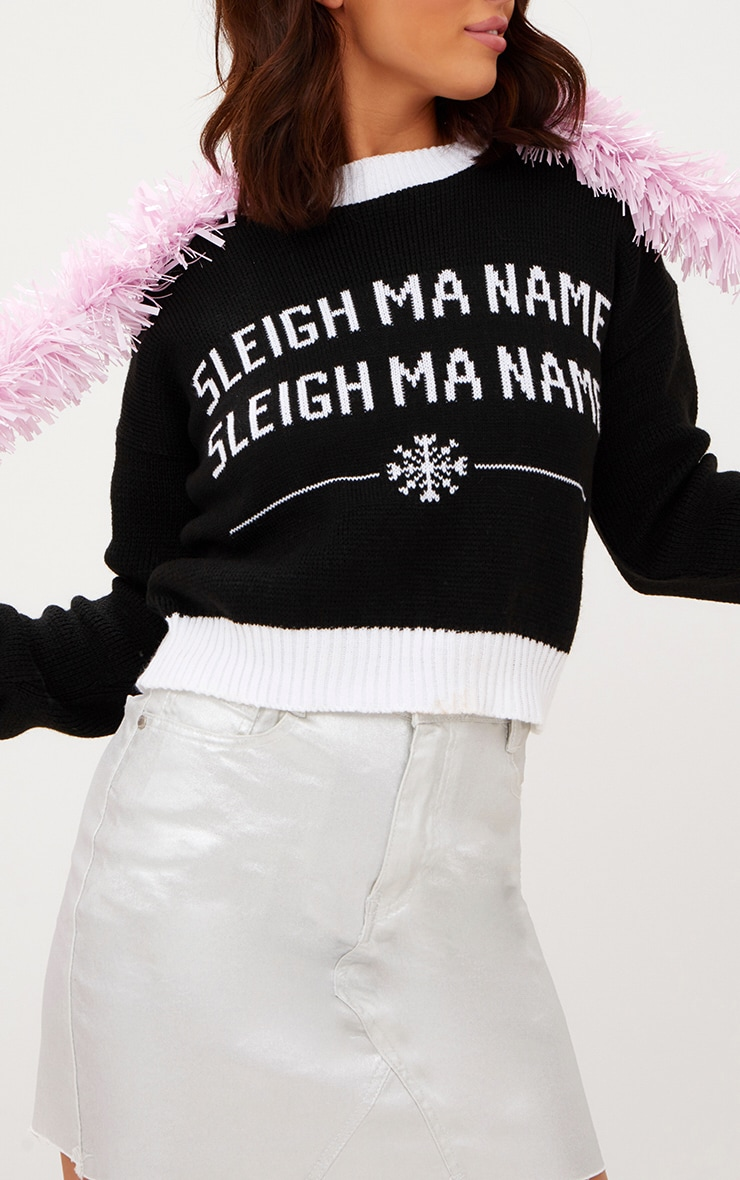 Black Sleigh Ma Name Christmas Jumper 5