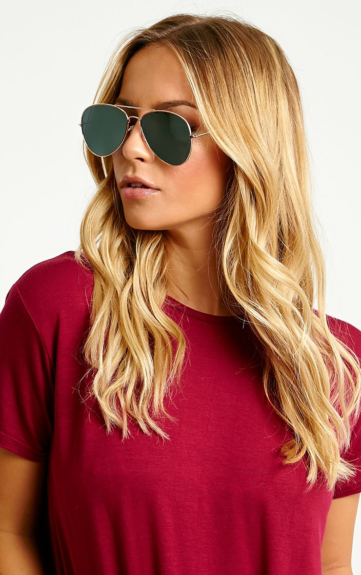 Tresa Green Lense Aviator Sunglasses 2