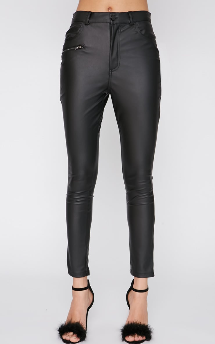 Nevah Black Leather Trouser  3