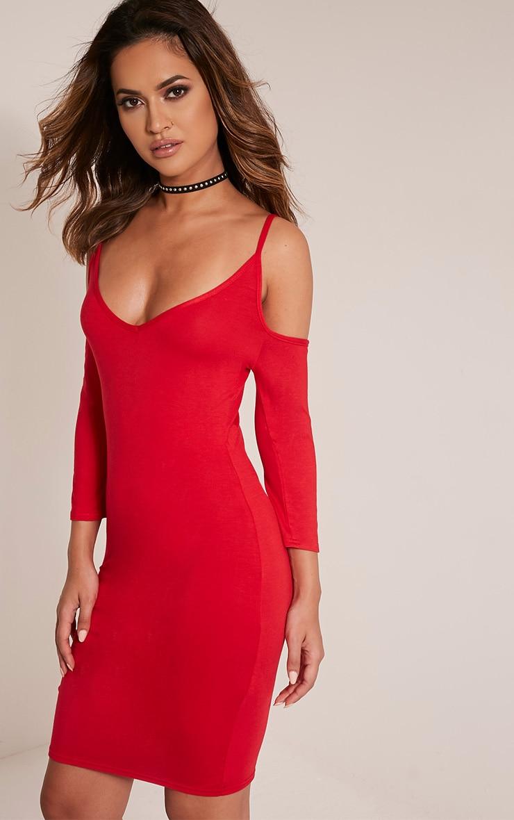 Kaleah Red Cold Shoulder Bodycon Dress 4