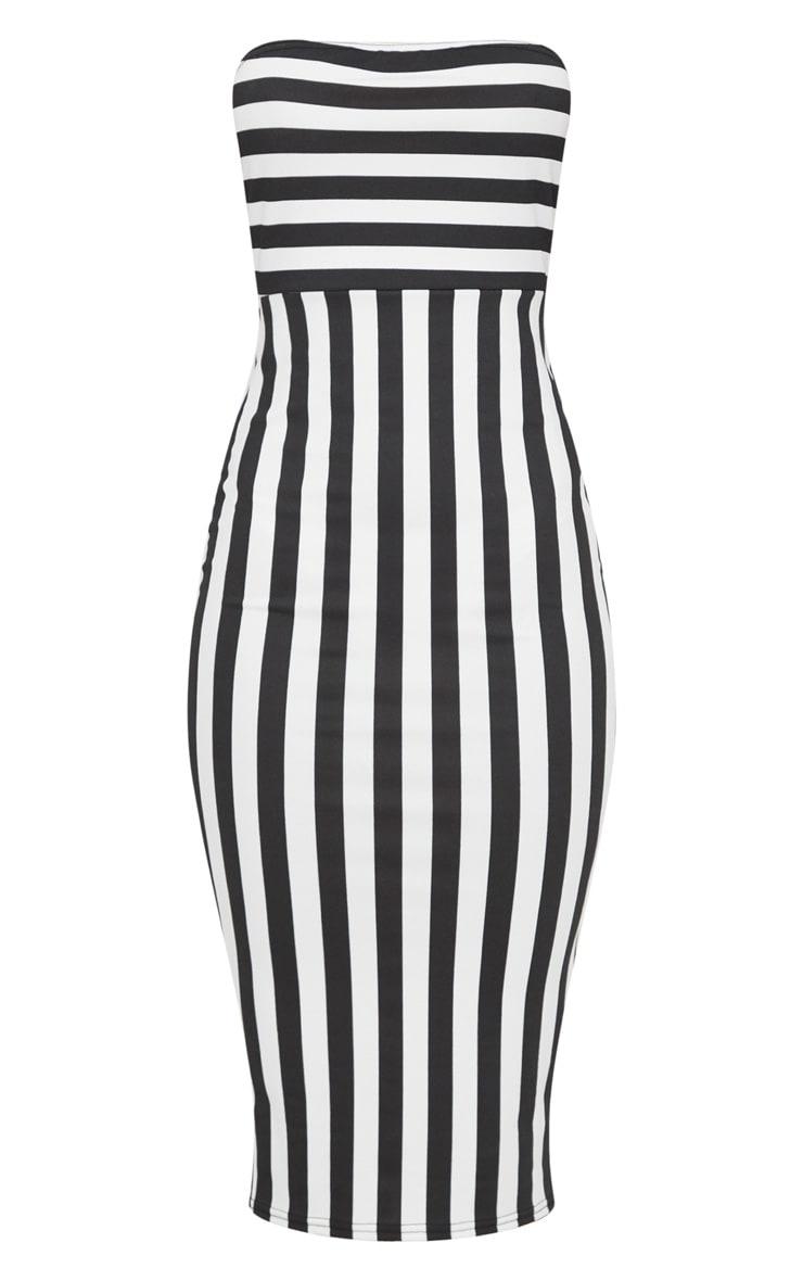 Black Contrast Stripe Bandeau Midi Dress 3