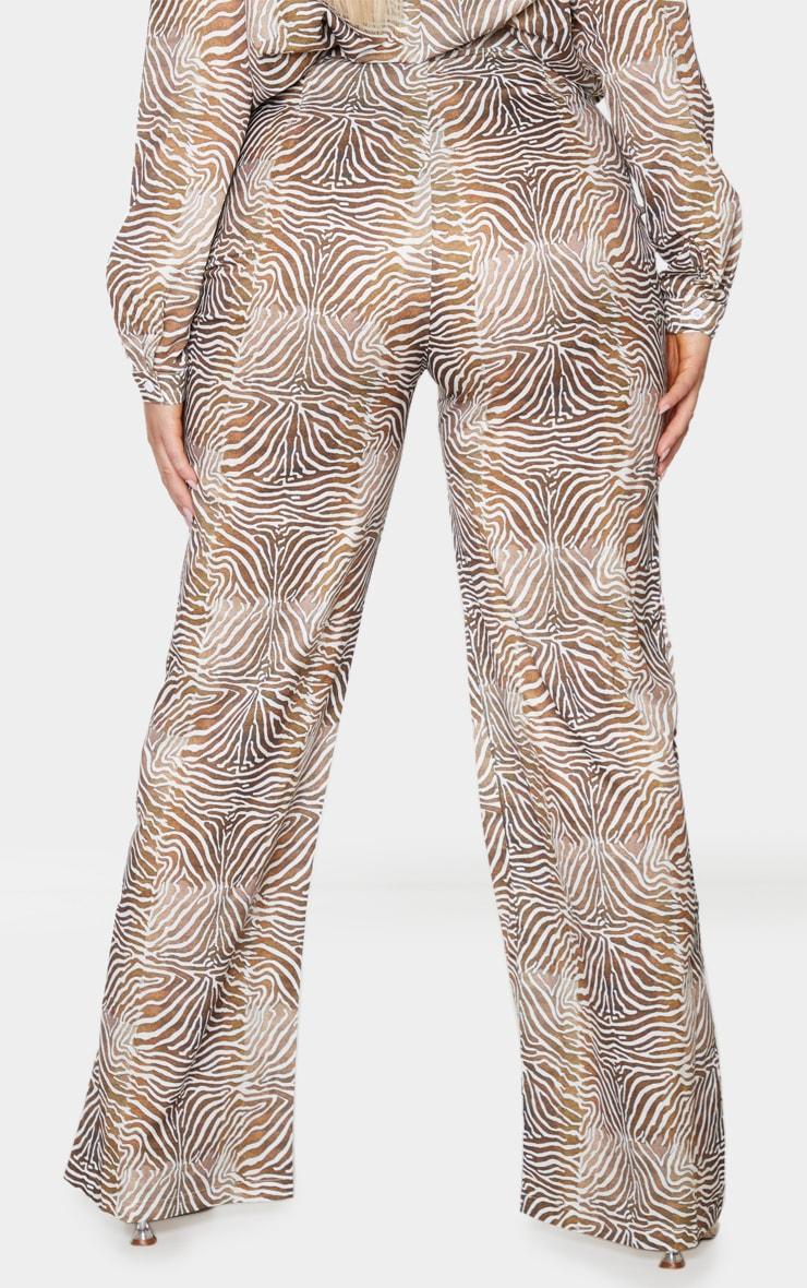 Plus Brown Zebra Printed Chiffon Wide Leg Pants 3