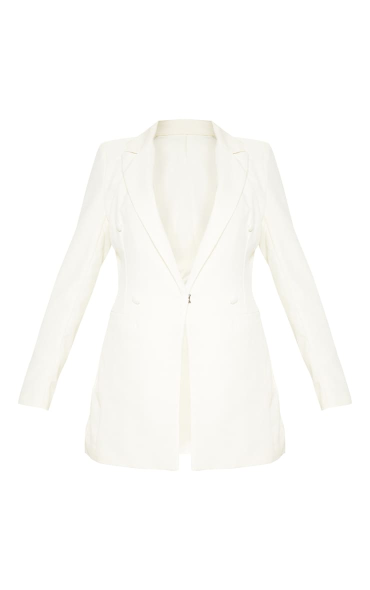 Cream Double Breasted Woven Blazer 3