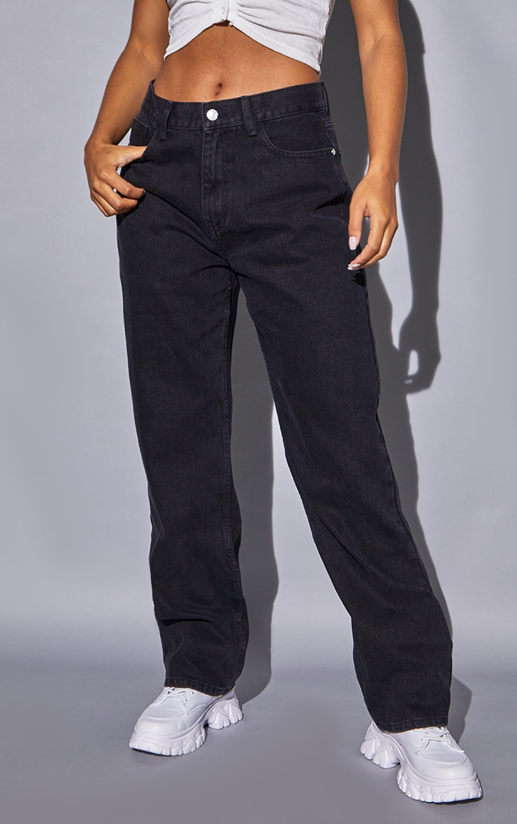 Recycled Washed Black Basic Low Rise Baggy Boyfriend Jeans 2
