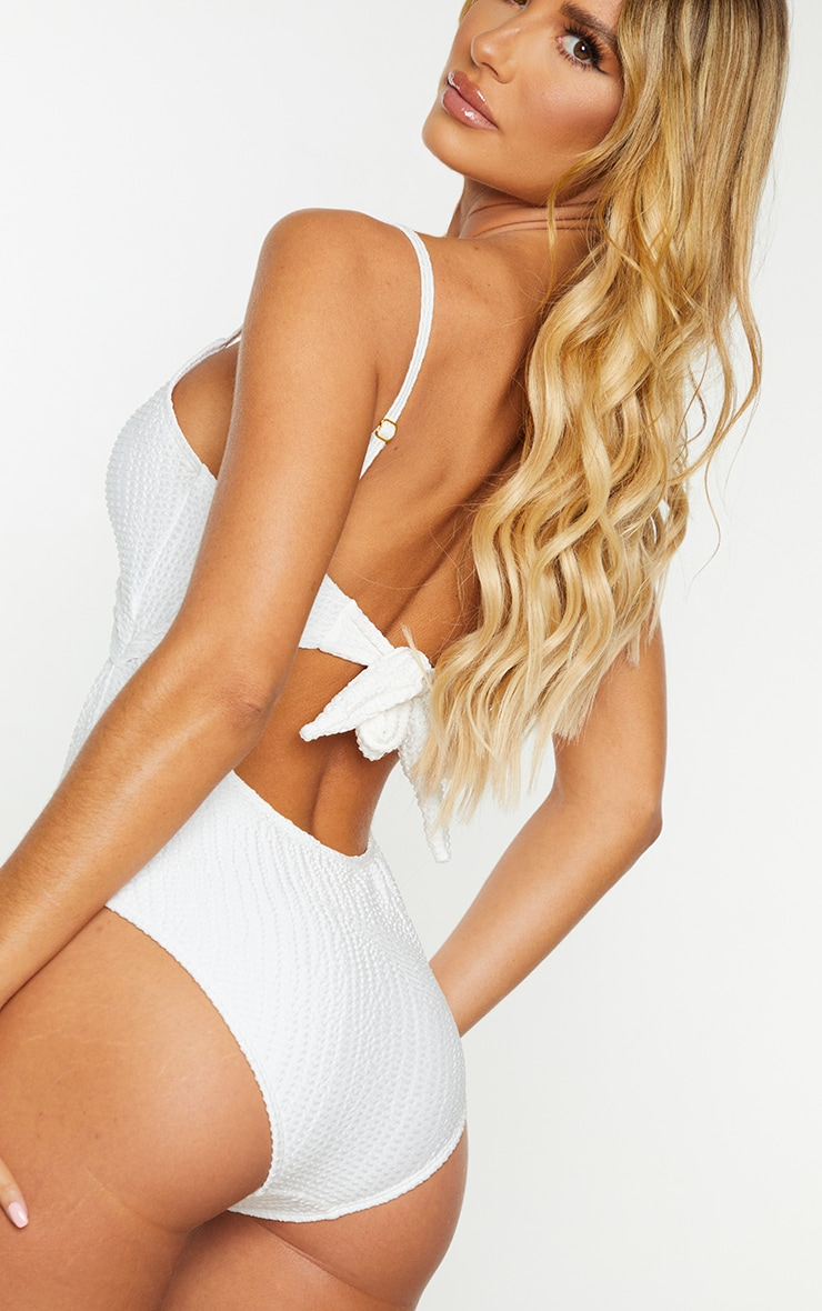 Cream Crinkle Cut Out Tie Back Swimsuit 4