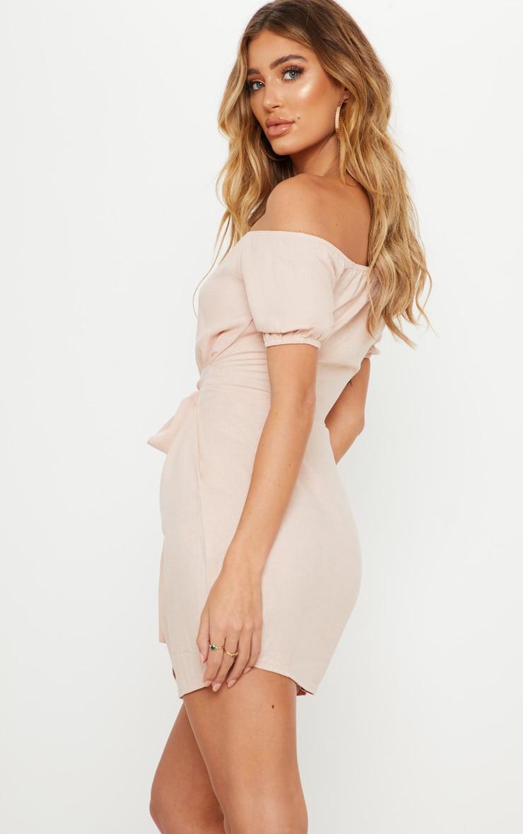 Dusty Pink Bardot Tortoise Shell Button Tie Waist Shift Dress 2