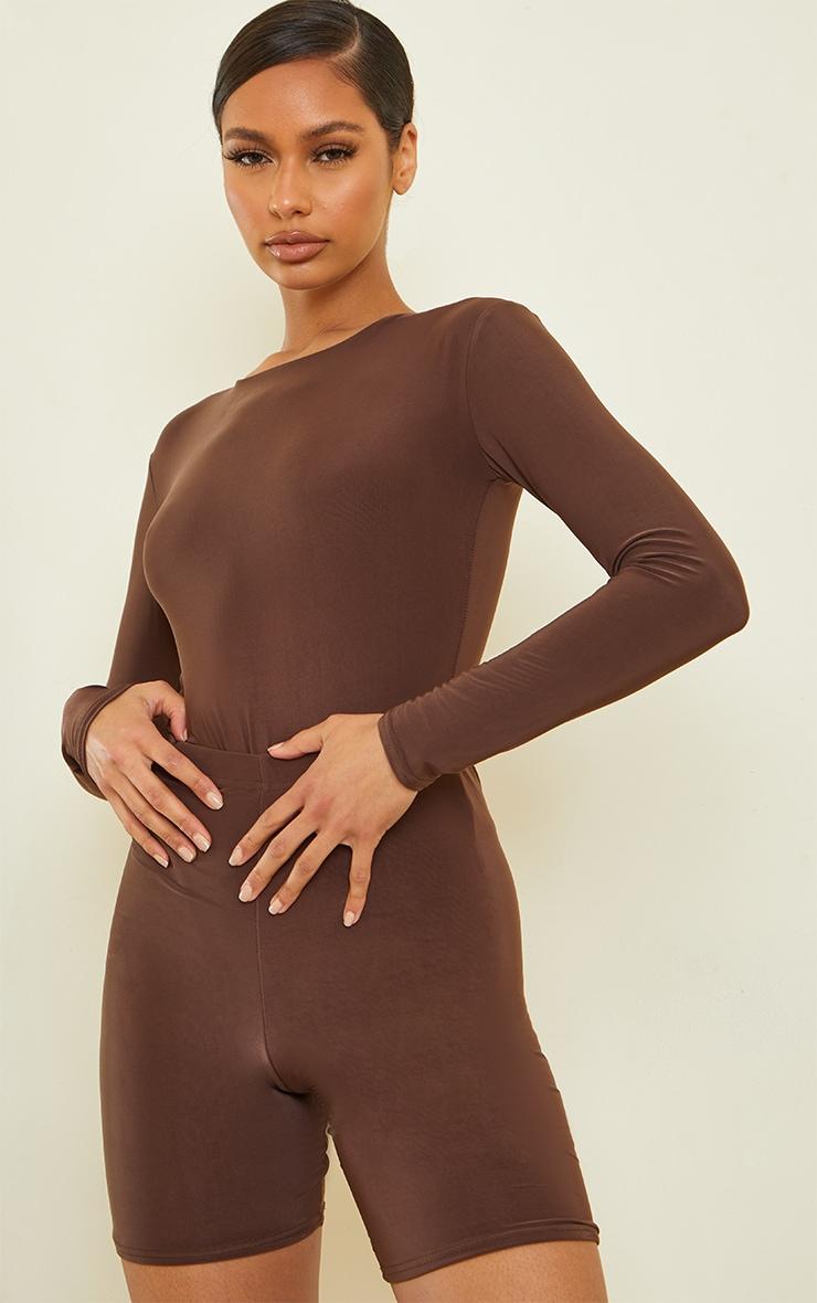 Dark Brown Slinky Crew Neck Long Sleeve Bodysuit