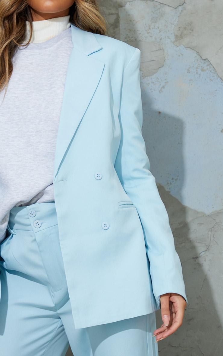 Light Blue Woven Double Breast Blazer 4