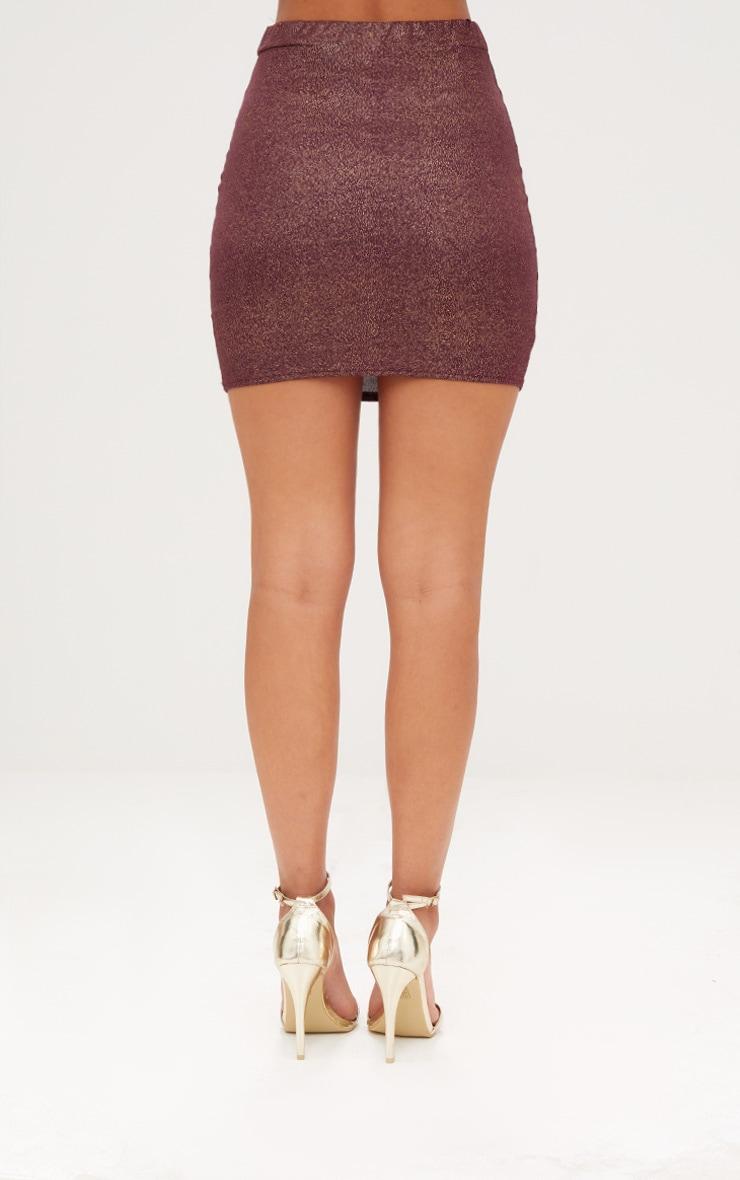 Burgundy Speckle Foil Mini Skirt 3