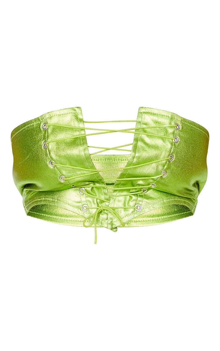 Shape Lime Metallic Coated Denim Lace Up Crop Top 5