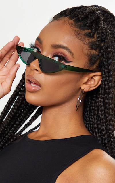 Green Flat Top Slim Cat Eye Sunglasses