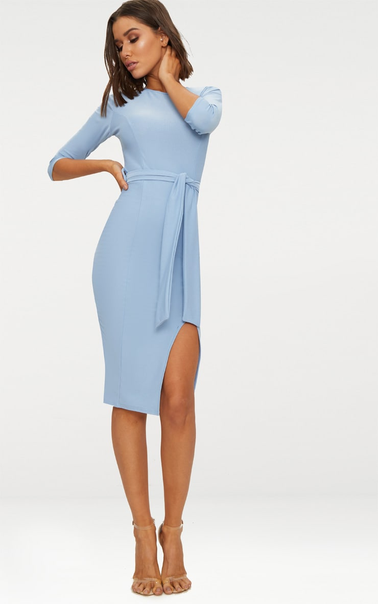 Dusky Blue Tie Detail 3/4 Sleeve Midi Dress 1