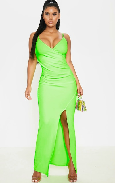543bb5cb16b Neon Lime Wrap Front Crepe Maxi Dress