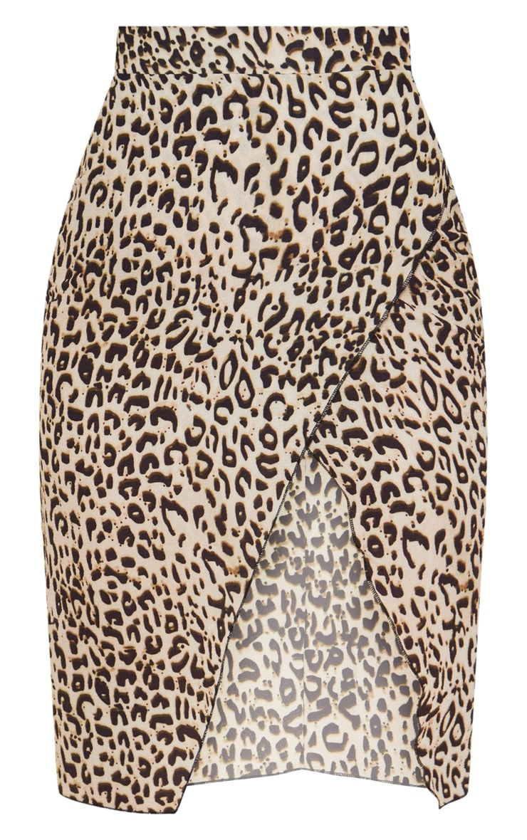 Petite Brown Leopard Print Wrap Pencil Skirt 3