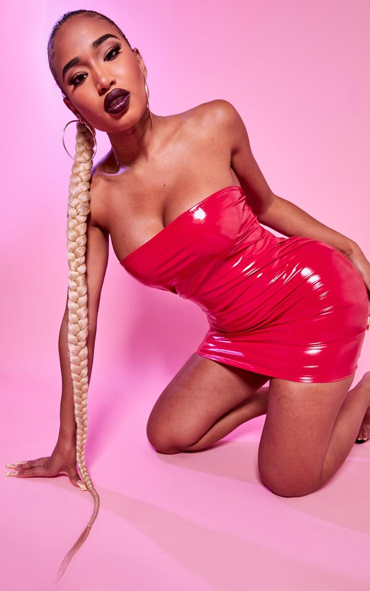 Shape Red Vinyl Bandeau Bodycon Dress 1