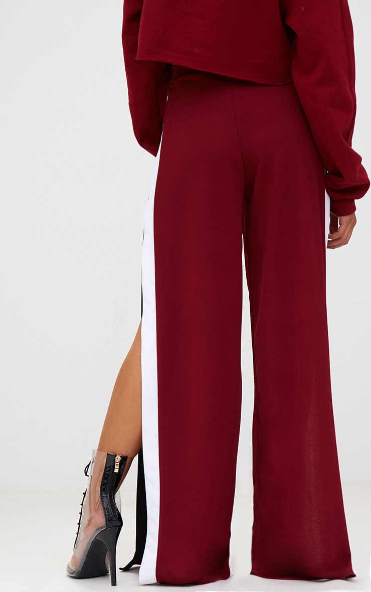 Petite Wine Extreme Split Flared Trousers 4