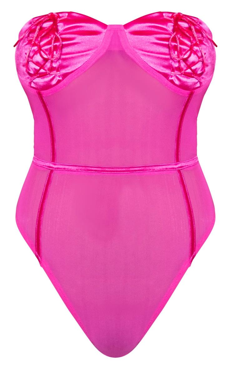 PLT Plus - Body en mesh rose vif à bonnets satinés lacés 4