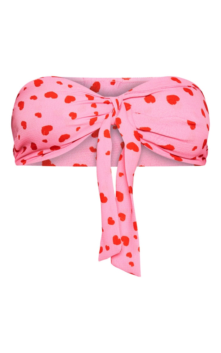 Pale Pink Love Heart Printed Bandeau Tie Detail Crop Top 3