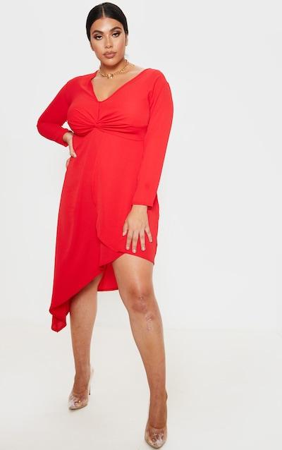 Plus Red Twist Front Asymmetric Midi Dress