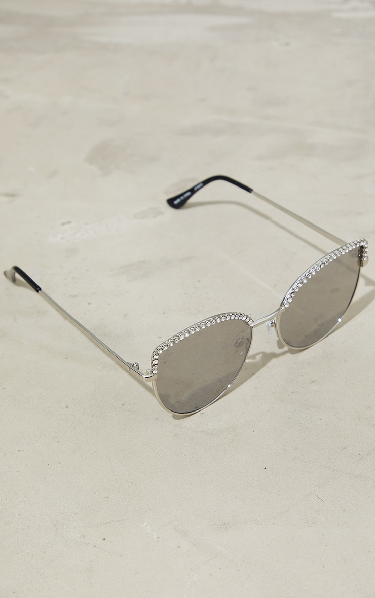 Jeepers Peepers Silver Diamante Brow Bar Cat Eye Sunglasses 2