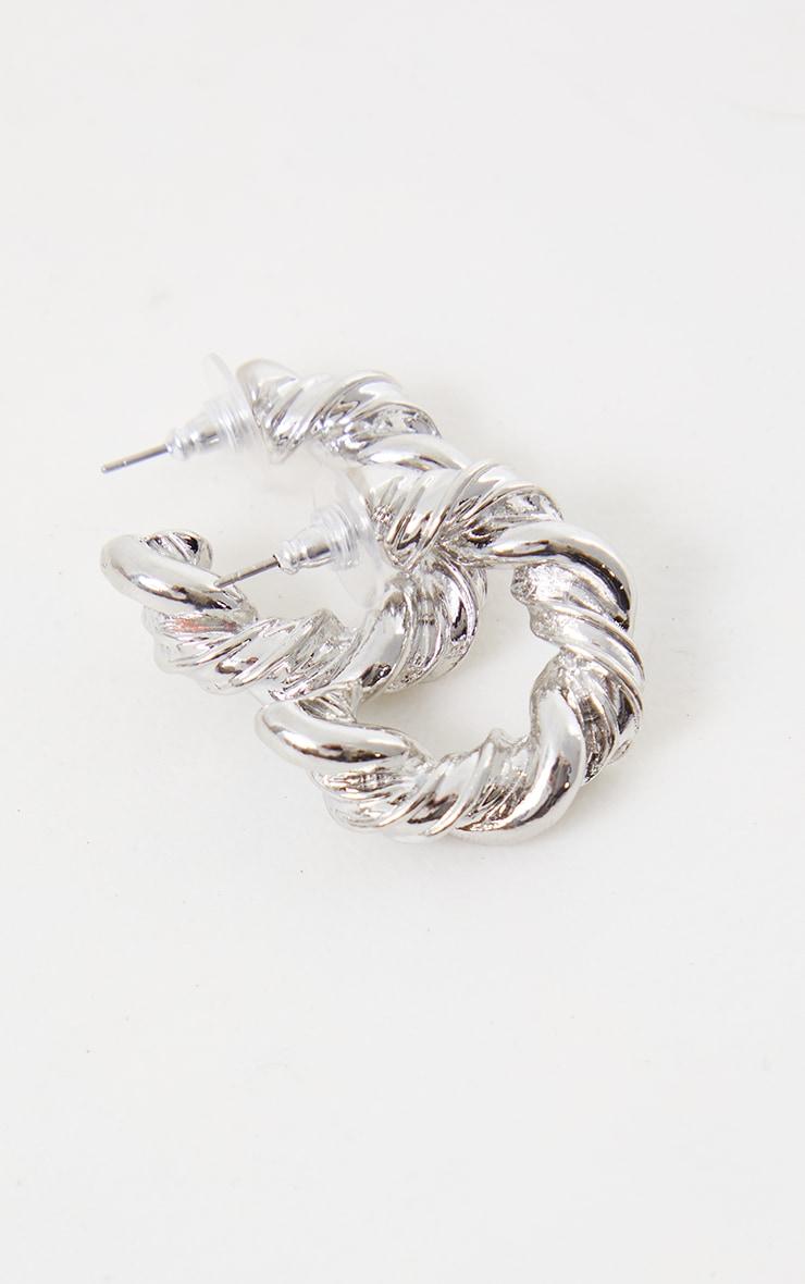 Silver Chunky Rope Twist Hoop Earrings 3