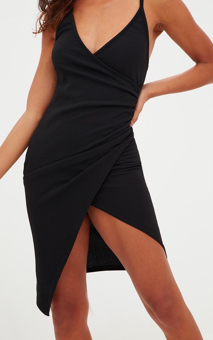 Petite Black Wrap Bodycon Dress 4