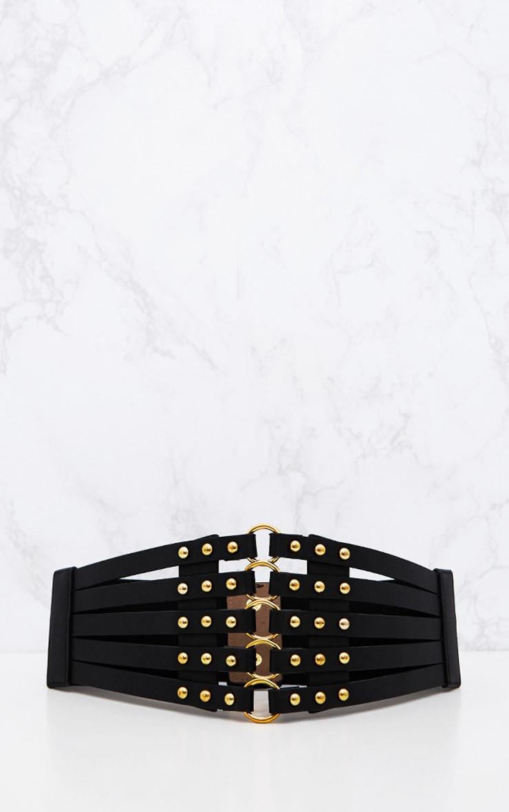 Black Studded Multi Ring Corset Belt 3