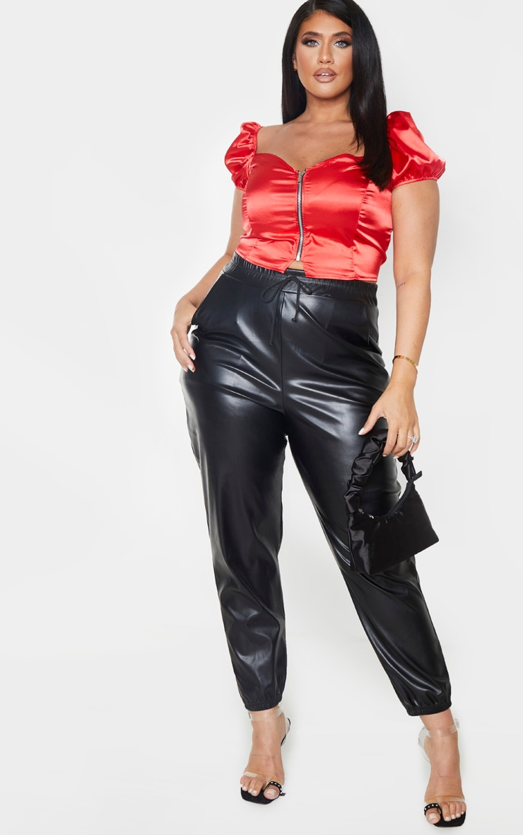 Plus Red Satin Puff Sleeve Crop Top 4