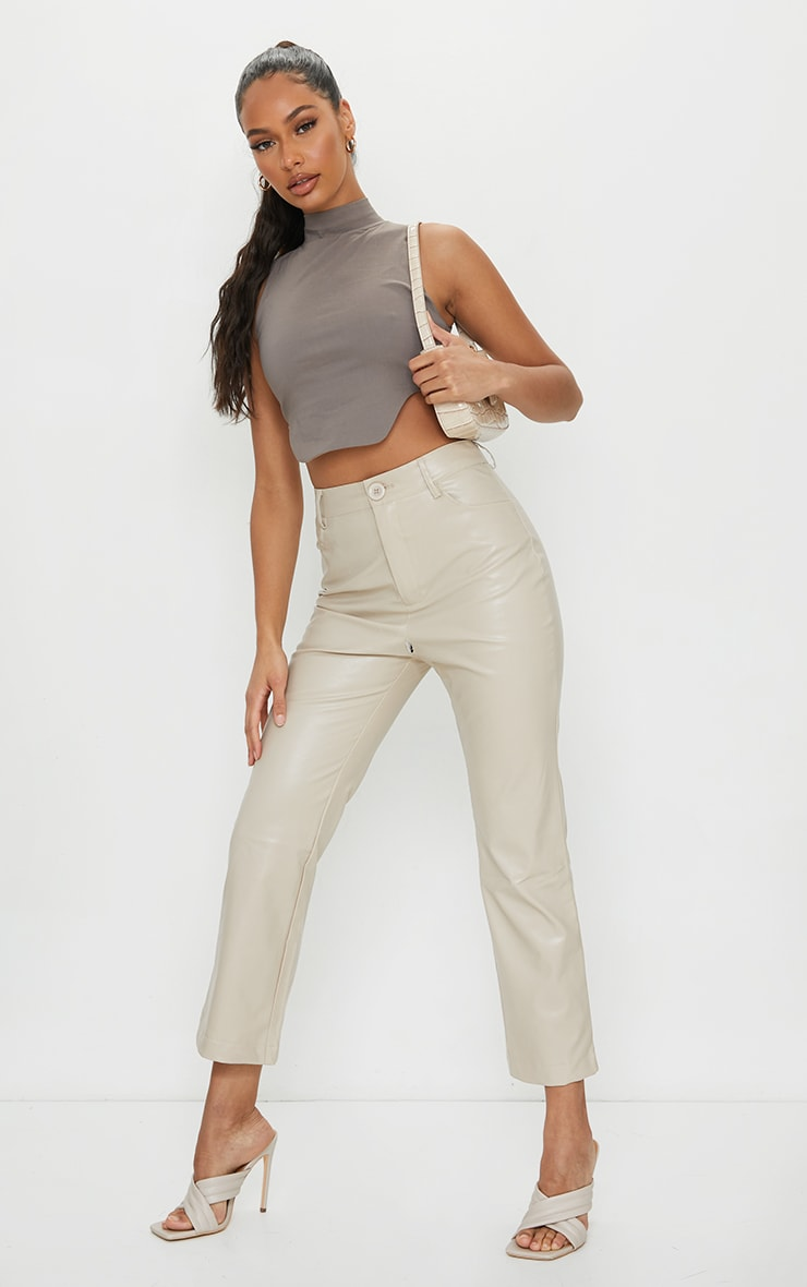 Taupe Bengaline High Neck Back Cut Out Crop Top 3