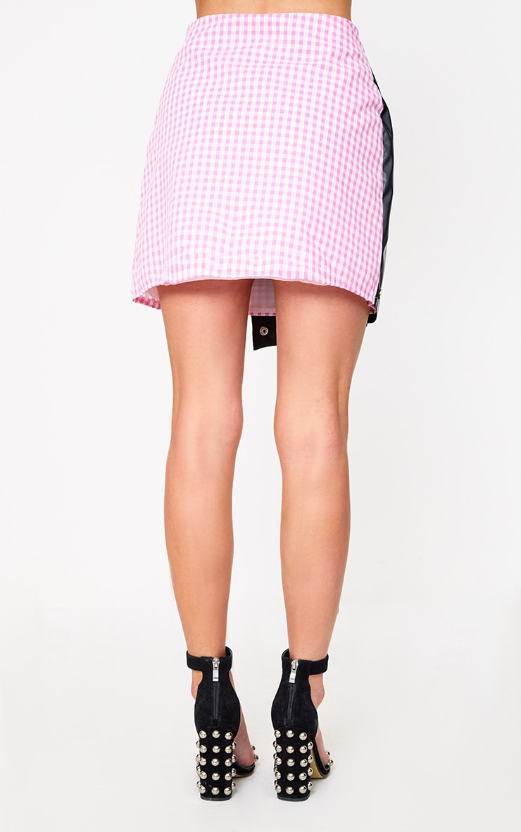 Pink Faux Leather Studded Wrap Gingham Mini Skirt 3