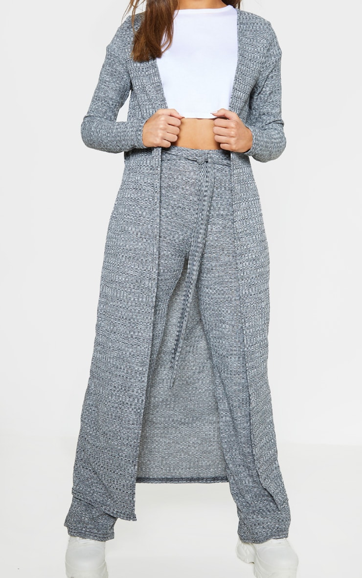 Grey Knitted Maxi Cardigan  5