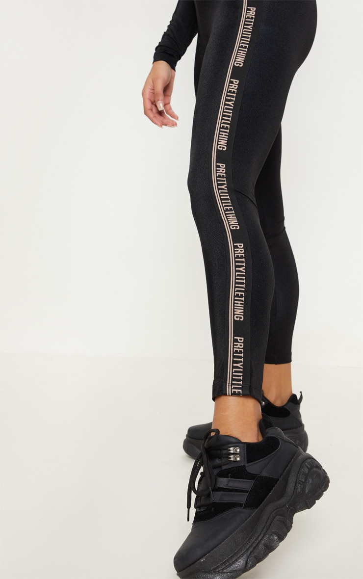 PRETTYLITTLETHING Black Side Tape Gym Legging 5