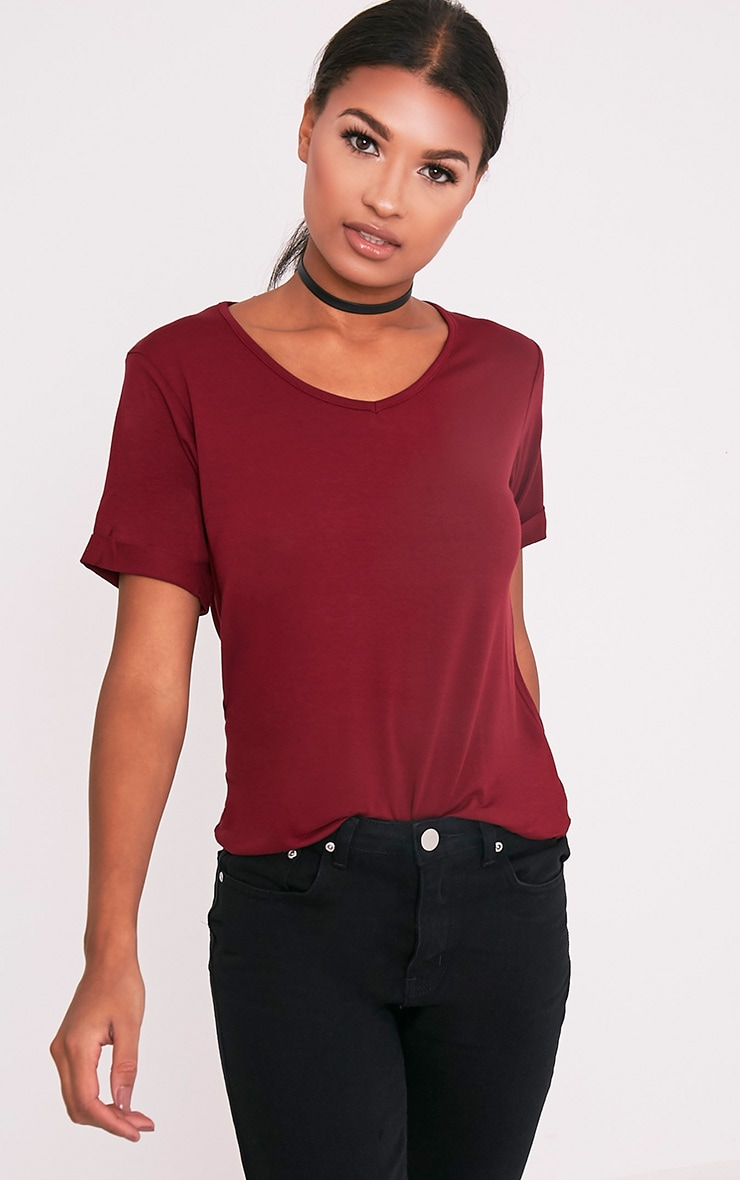 Basic Burgundy V Neck Oversized T-Shirt 1