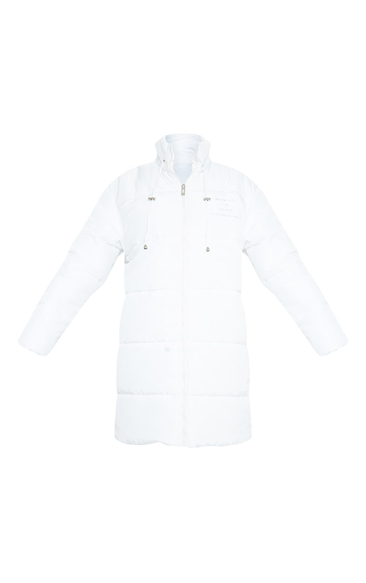 White Slogan Midi Oversized Puffer Coat 5