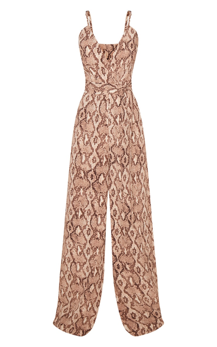 Petite Stone Snake Print Strappy Tie Waist Jumpsuit  3