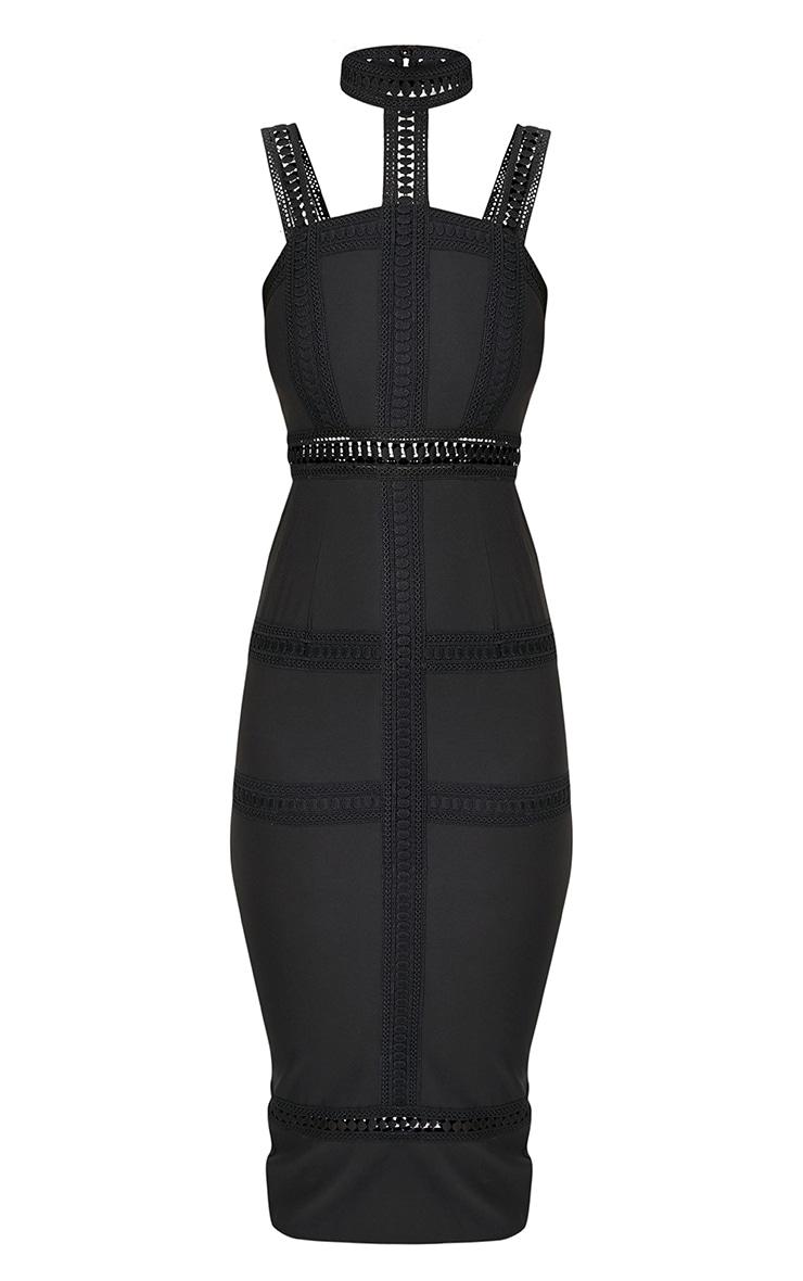 Ryley Black Choker Detail Lace Trim Midi Dress 3
