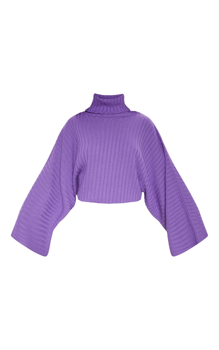 Purple Ribbed Knit High Neck Jumper  3