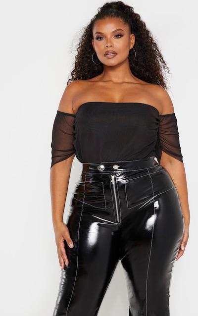 Plus Black Mesh Ruched Bardot Bodysuit