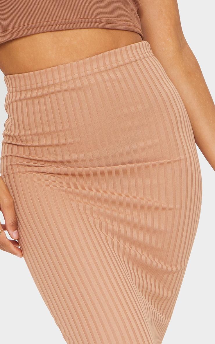 Camel Rib Bodycon Maxi Skirt 4