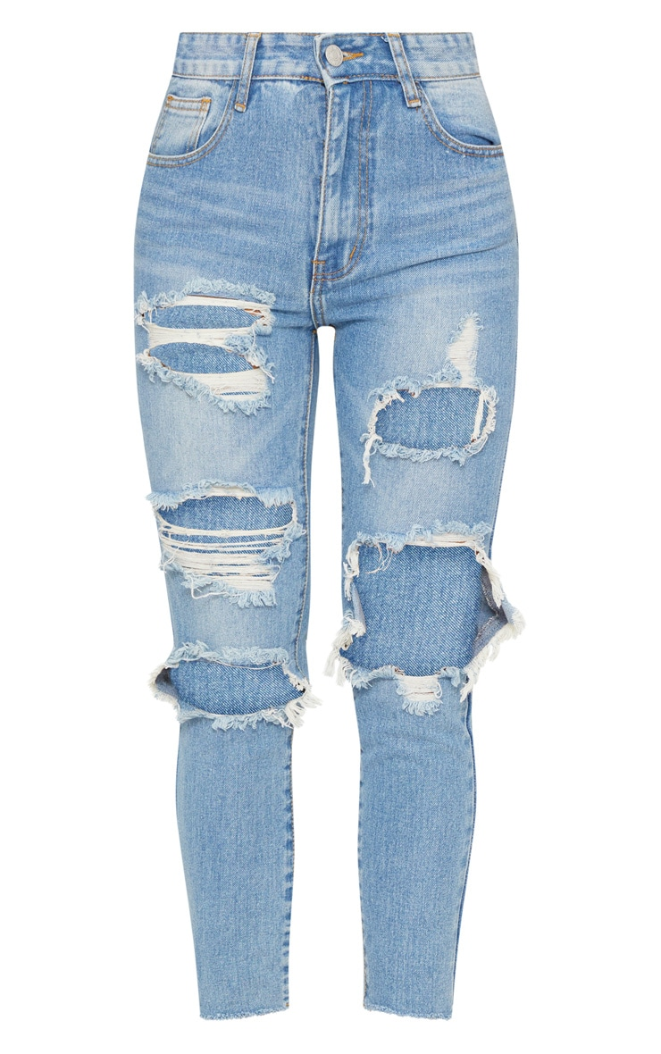 Light Wash Extreme Distressed Boyfriend Jean 3