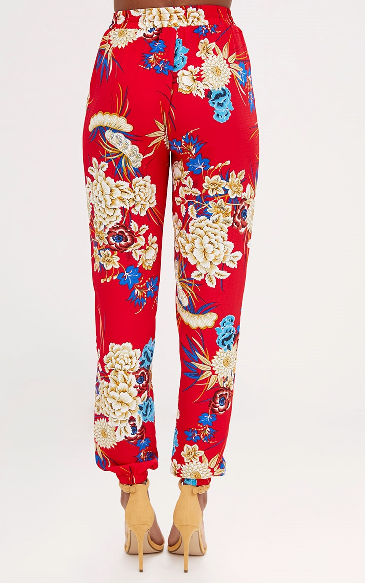 Red Printed Joggers 4